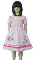 New Girls Cotton Smocked Party Dress in Hot Pink,White,Pink from 12 M to 4 Years