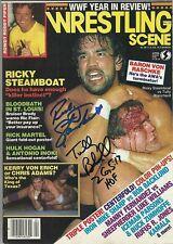 EB505 Tully Blanchard & Ricky Steamboat duel signed Wrestling Magazine w/COA