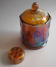 Marigold Carnival Glass Small Canister Grape pattern + Bonus Flower Frog