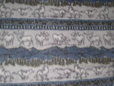 Moose Wolf Blizzard Fleece Fabric Material New Blue Grey Soft Sewing