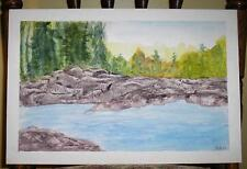 VINTAGE LANDSCAPE PLEIN AIR PINE TREE ROCKS POND STREAM FOLK ART NATURE PAINTING