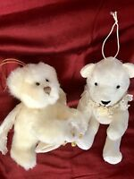 Lot Of Two Stuffed Bear Ornaments White Russ Victorian Angel