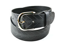 Leather Belt Snap Button Changeable Metal Buckle Harness Strength Black New