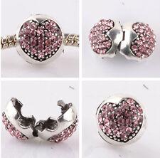 1pcs silver love ball pink CZ snap beads fit Charm European Bracelet DIY #E958