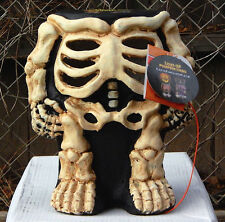 "rare 12"" LIGHT UP SKELETON PUMPKIN STAND HALLOWEEN DECORATION plaster cute candy"