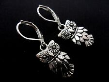 A PAIR OF TIBETAN SILVER  DANGLY OWL THEMED  LEVERBACK HOOK  EARRINGS. NEW.