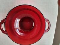 Vintage Ruby Red Bowl Anchor Hocking Design Farmhouse collection