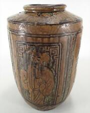 Big Antique Chinese Porcelain Tall Vase Jar with Brown Glaze Immortals Bats Urn