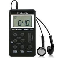 Mini Digital Portable Pocket LCD AM FM Radio 2 Band Stereo Receiver  Headphone