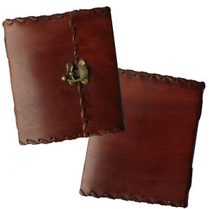 """2nd Quality 6"""" Real Leather Journal Sketchbook Diary Handmade Paper Stitch Lock"""