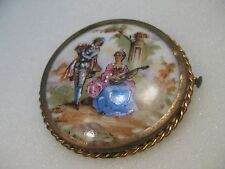 Victorian Limoges, France Painted  Minstrel Courting Brooch, Trombone Clasp, 2: