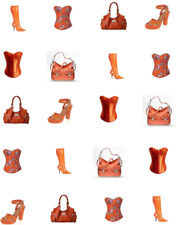 GIRLS NITE OUT-Orange Corsets, High Heel Shoes & Purses Waterslide Nail Decals
