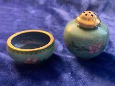 Vintage Chinese Cloisonné Salt Cellar & Pepper Shaker - Green & Pink on Aqua