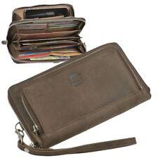 Damenbörse Leder braun Clutchbörse Taschenbörse Portemonnaie mit Handschlaufe