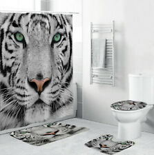 Tiger Shower Curtain Bathroom Rug Set Thick Bath Mat Non-Slip Toilet Lid Cover