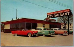 1950s Elizabethtown, Kentucky Postcard CLEMON'S (Howard's) RESTAURANT Cool Cars!