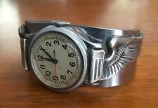 RARE ww2 WHITE DIAL ELGIN 1941 A-11 army air corps watch STERLING WINGS band