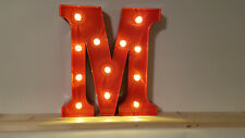 LED ALPHABET METALL BUCHSTABE - M - ROT 31x14-30x5cm=12 INCH MARQUEE LETTER