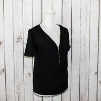 The Kooples Sport Women's Half Zip Blouse Black Silk Tencel Short Sleeve Size XS