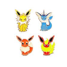 USA 4PCS Pokemon Go Pocket Monster Eevee Flareon Badge Brooch Cosplay Pins