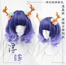 Wig Short Curly Hair Sweet Dolly Lolita Harajuku Cosplay Blue Violet Gradient