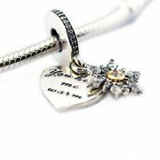 Real 925 Silver snowflake love heart you keep me warm Dangle Pendant CZ Charm