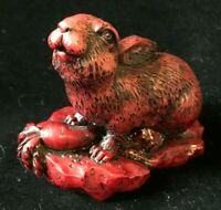 "Red Resin Rabbit Bunny Figurine 3"""