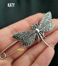 Dragonfly Silver Tone Safety Pin Scarf Clothes Shawl Fly Plaid Kilt Brooch Sash