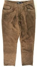 Polo Ralph Lauren Mens Size 38 x 34 Brown 100% Suede Leather Slim Straight Pants