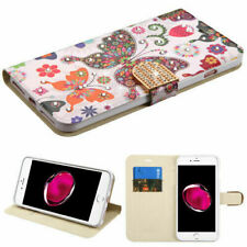 For APPLE iPhone 8 Plus/7 Plus Butterfly Diamante MyJacket Wallet Case Cover