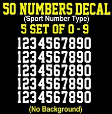 0-9 Numbers Vinyl Sticker Decal Sheet , 50 Total Numbers, Sport Number Type