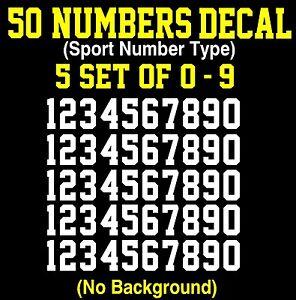 0-9 Numbers Vinyl Sticker Decal Sheet , 50 Total Numbers, Sport Number Type