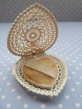 Rare Beautiful Heart Shape Filigree Ivorine Ring Box - Millers Wolverhampton