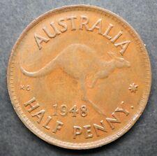 Australia Halfpenny 1948Y VF Die Crack through Kangaroo tail H194814