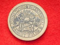 "VINTAGE 1958  1 1/2"" ACROSS JOHNSTOWN NY BICENTENNIAL FIVE CENTS WOODEN NICKEL"