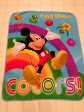 """MICKEY MOUSE SOFT PLUSH BLANKET 50"""" X 39"""" FIND THE COLORS DISNEY RAINBOW"""