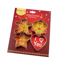 4PCS Stainless Steel Christmas Gingerbread Man Cookie Cutter Biscuit Mould MoldT