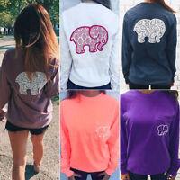 Women Elephant Printed Pocket Long Sleeve Loose Causal Pullover Sweatshirt Tops