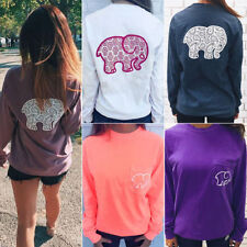 Womens Elephant Print Long Sleeve Pocket Loose Blouse Sweater Shirts Jumper Tops