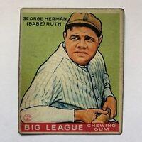 Babe Ruth 1933 Goudey #181 GREEN Yankees non Auto non PSA graded