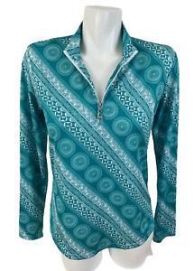 San Soleil UPF 50 Womens 1/4 Zip Golf Tennis Mesh Top Shirt Teal Green Size S