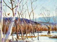 Vintage Oil Painting Country Folk Art Primitive Duck Hunting Americana Fine Art