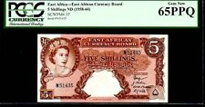 """EAST AFRICAN CURRENCY BOARD P37 5 SHILLINGS 1958-60ND PCGS 65PPQ GEM! """"QE II"""""""