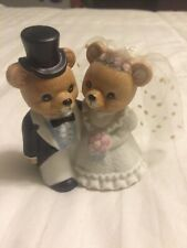 Homco Bride & Groom Wedding Bear's Figurine w/ #1424 & Gold Homco Sticker