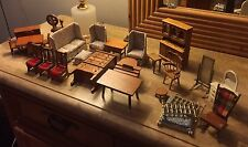 Huge Lot of Vintage Doll House Wood Furniture & Accessories Used 38 Pieces