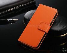 Genuine Real Leather Slim Flip Card Wallet Case Cover for Google Nexus 6p Orange