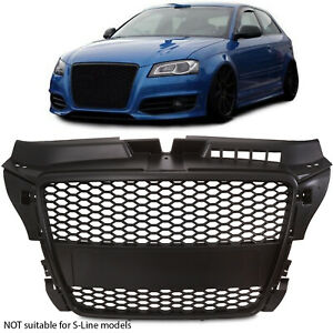 BLACK HONEYCOMB A3 TO RS3 UPGRADE MESH PDC DEBADGED GRILL FOR AUDI A3 8P 2004-13