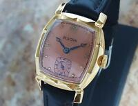 Bulova Swiss Made 1950s Mechanical Mid Size Men's Gold Plated Vintage Watch LA29