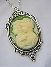 VICTORIAN SETTING SILVER GOLD CAMEO FAMILY NECKLACE CHILD TWINS SISTER GIFT MOM