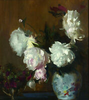 Oil painting Edmund Charles Tarbell - Peonies beautiful flowers free shipping